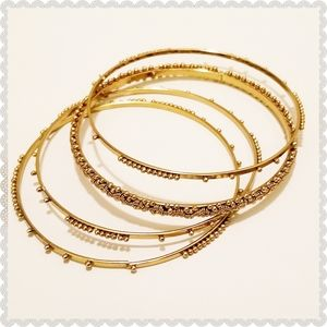 Set of 4 Beaded Gold Wired Tribal Bangle Bracelets